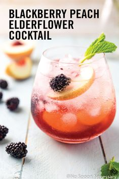 What could be a better drink for a girls night in than this recipe for a Blackberry Peach Elderflower Cocktail?! Fruity, unique, and perfect in presentation, this bubbly beverage is sure to go over well with your friends.