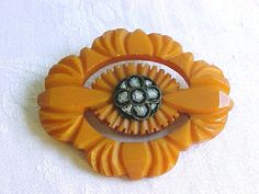 Large Butterscotch Bakelite Brooch with Micro by IrrenaysTreasures, $94.00