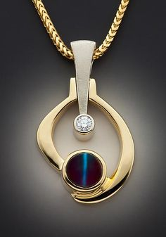 Glenn Dizon - Ganoksin  Materials: Cat's eye alexandrite, diamond, 18K yellow gold and 14K white gold Dimensions: 1.3 X .75 X .38 inches  One of a kind pendant set with Natural Cat's eye Alexandrite (Brazil) diamond in 14K white gold and 18K yellow gold