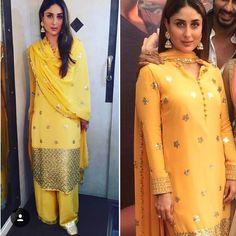 Mango yellow colour of spring ! Kareena Kapoor Khan in Pakistani salwar suit , gold ensembles , Jhumkies just complete her flamboyance