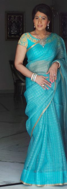 blue Kota saree with self embroidered blouse