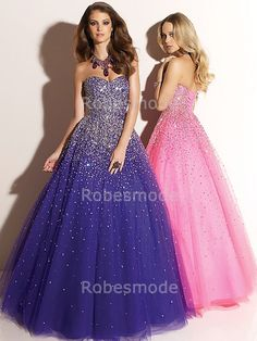 Luxe Dazzling Purple or Pink A-line Sweetheart Beads and Sequins Adorn Through Out Tulle Faced Satin Floor Length Prom Dresses/Quinceanera Dresses/Sweet 16 Dresses Prom Girl Dresses, A Line Prom Dresses, Tulle Prom Dress, Prom Party Dresses, Quinceanera Dresses, Homecoming Dresses, Evening Dresses, Formal Dresses, Tulle Lace