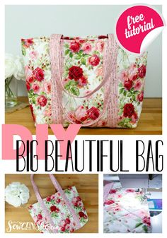 Diy bags 248964685639643961 - Free sewing pattern for a beautiful DIY beach bag, pool bag, book bag, shopping bag, and more! Sacs Tote Bags, Big Tote Bags, Quilted Tote Bags, Patchwork Bags, Bag Patterns To Sew, Sewing Patterns Free, Free Sewing, Tote Bag Pattern Free Easy, Quilted Bags Patterns