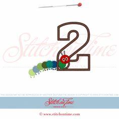 866 Birthday : 2 With Caterpillar Applique 5x7
