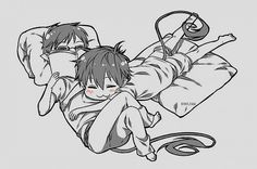 my gif my gifs cute anime monochrome rin Ao no exorcist Okumura Twins blue…