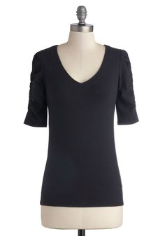 A Shirred Thing Top in Black. Do you need a versatile top that you can wear with your favorite jeans? #black #modcloth