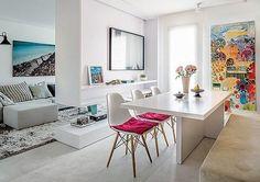 Divisão de ambientes, pode ser aproveitado para dividir sala e quarto. Obs: pintura perfeita na sala de jantar