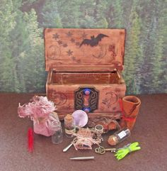 Miniature Traveling Witch Altered Wooden Chest by Enchanticals, $23.85