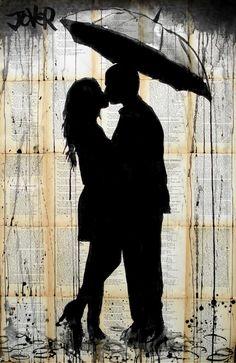 """""""Rain lovers"""", grafite do artista australiano Loui Jover.  Veja também: http://semioticas1.blogspot.com/2011/07/arte-do-grafite_15.html  ."""