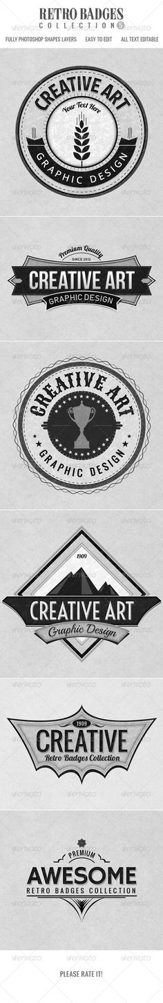 Retro Badges col.5 - GraphicRiver Item for Sale