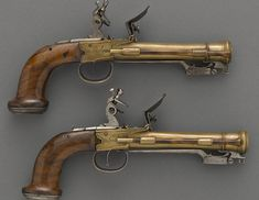 """"""" A pair of brass barreled flintlock pistols with snap out bayonets. Signed """"Griffin of London"""" 18th century. """""""