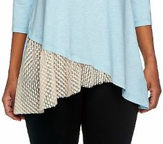 LOGO by Lori Goldstein 3/4 Sleeve Knit Top with Lace Godet