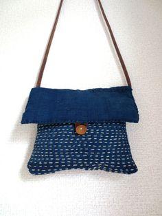 Hand Stitched Sashiko Indigo Pouch Bag - Leather Strap