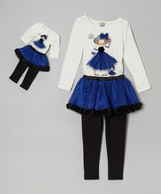 Take a look at this Blue Skirted Legging Set & Doll Outfit - Girls by Dollie & Me on #zulily today!