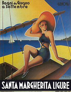 Santa Margherita, Italy vintage travel poster by Filippo #Romoli  woman on sailboat