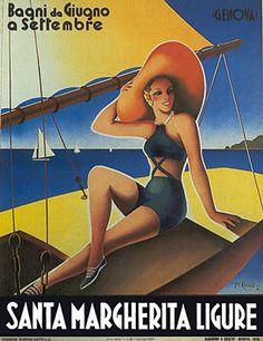 Santa Margherita, Italy vintage travel poster by Filippo #Romoli  woman on sailboat