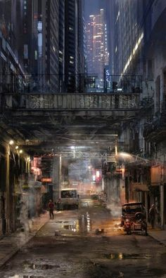 atomhawk on deviantART / underpass / cyberpunk / industrial / sci fi city / futuristic / techie / dark future / digital art / city lights Arte Cyberpunk, Cyberpunk City, Ville Cyberpunk, Futuristic City, Cyberpunk Anime, Cyberpunk Aesthetic, Sci Fi Stadt, Sci Fi City, Fantasy Kunst