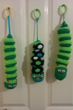 Sock caterpillars made from wellie socks at dippy dandelion