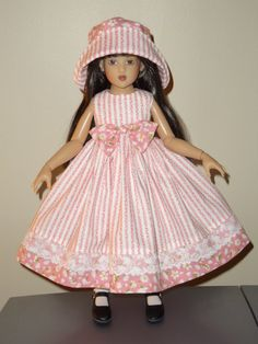Dress and Matching Hat fits 14 inch  Kish and by SewbeitsDollWear