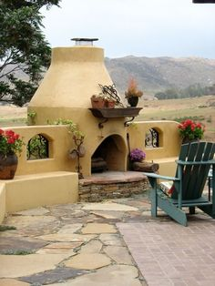 Adobe Outdoor Fireplace Southwestern Landscaping Designs by Shellene San Diego, CA