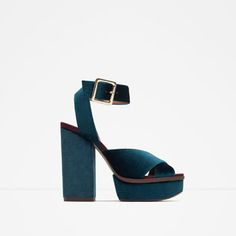 Image 1 of VELVET PLATFORM SANDAL from Zara