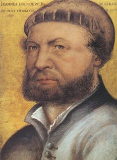 """50.HANS HOLBEIN THE YOUNGER (1497-1543) – After Dürer, Holbein is the greatest of the German painters of his time. The fascinating portrait of """"The Ambassadors"""" is still considered one of the most enigmatic paintings of art history - Self Portrait 1542"""