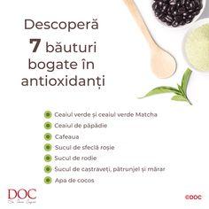 ☕Cum te poți energiza după o zi grea? Încearcă o băutură bogată în antioxidanți!  Cafeaua, ceaiul verde, mai ales ceaiul verde Matcha, dar și apa de cocos îți pot fi aliati de încredere pentru vitalitate și pentru un organism puternic și sănătos. Descoperă ce alte băuturi conțin o cantitate ridicată de antioxidanți! Diet And Nutrition, Mai, Matcha, Tableware, Green, Dinnerware, Tablewares, Dishes