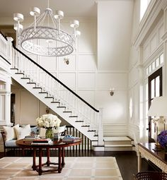 entry foyer with custom paneling and woodwork, large scale chandelier. Design by Alexa Hampton via Architectural Digest. Alexa Hampton, Design Entrée, Design Ideas, Design Blogs, Floor Design, Design Projects, Home Interior, Interior Design, Interior Architecture