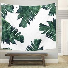 Lannidaa Tropical Plant Banana Leaf Tapestry Wall Hanging Green Wall Tapestry Home Decoration Large Size Beach Towel Blanket Hanging Fabric, Tapestry Wall Hanging, Ceiling Hanging, Wall Hangings, Blanket On Wall, Yoga Blanket, Tapestry Bedroom, Carpet Sale, Tropical Plants