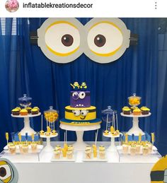 Minion Theme Birthday Party Dessert Table and Decor Minions Birthday Theme, Minion Theme, Birthday Party Desserts, Minion Party, Birthday Table, Frozen Birthday Party, 2nd Birthday Parties, Birthday Party Decorations, Birthday Cakes
