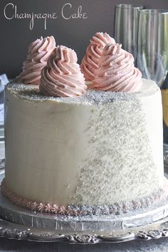 This delicate, moist Champagne Cake is packed with flavor, filled with strawberries, & iced with Champagne Italian Meringue Buttercream. Champagne Wedding Cakes, Pink Champagne Cake, Indian Cake, New Year's Cake, Italian Meringue, Wedding Cake Flavors, Strawberry Cakes, Cake Decorating Tips, Cake Party