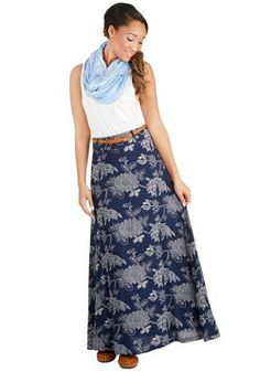 Love the look of this maxi with the soft scarf and solid tank top!