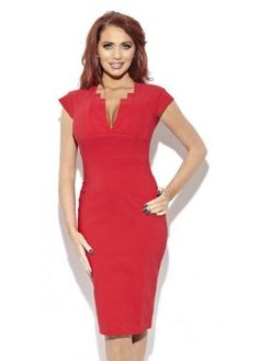 Amy Childs Lizzie Pleat Detail Red Pencil Dress