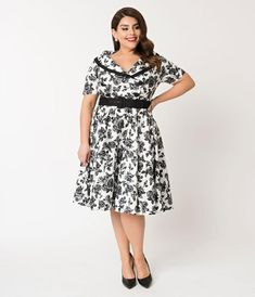 ad2f77517bfd Hell Bunny Plus Size 1950s Style White   Black Floral Honor Swing Dress