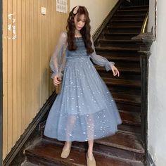 Fairy French Style Dresses 2019 New Princess Long Dress Super Fairy Pink Blue Black Dress Spring Shinning Cute Princess Dresses Mesh Dress, Sheer Dress, Spring Dresses, Blue Dresses, French Style Dresses, Black And Blue Dress, Long Sweater Dress, Fairy Dress, Cute Fashion