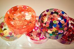 Button Bowls; buttons set in clear resin, in a mold, very pretty in one color or multi-colored. MJ