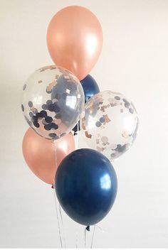 Bienvenue sur Oh combien charmant!  ce qui rend si spécial Oh combien charmante ballons confetti?! Chaque ballon confettis est pressé à l'ordre par mes soins dans mon studio dans une maison en Floride! • Cette liste est pour (2) or rose (2) marine et claire (2), fard à joues