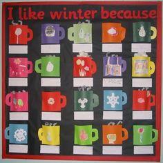 Pidän talvesta, koska - talvijuttuidea! Nitojalla kuppi kiinni reunasta ja rakentuu ns. Avattava kirja. Sisään tarina/lauseita talvesta.