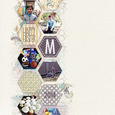 Loving the mix of patterned papers in this #scrapbook page by Lisa at DesignerDigitals.com