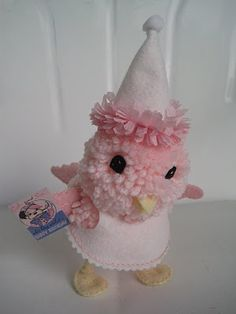 Pink Pom Pom Birthday Chick...inspiration only...blog has been removed...but seem easy enough to reproduce!