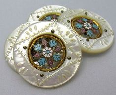Four Large Mother of Pearl Buttons with Beautiful Floral Enameled Centers
