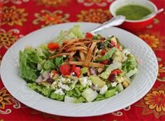 Mexican Chopped Salad with Lime Cilantro Dressing © Jeanettes Healthy Living