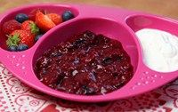 This summer fruits compote with greek yoghurt makes a tasty breakfast or dessert, suitable from 7 months
