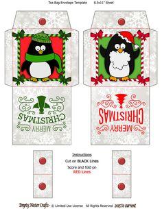 Printable Tea Bag Packet Wrapper Envelope Topper, Penguins, Merry Christmas Holiday digital download by EmptyNesterCrafts on Etsy