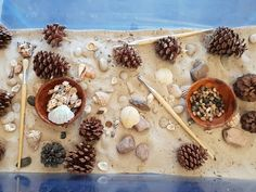 Sensory Play is so engaging with beautiful loose parts Nursery Activities, Sensory Activities, Infant Activities, Sensory Table, Baby Sensory, Sensory Play, Sand And Water Table, Sand Table, Early Years Teaching
