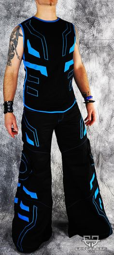 Cryo Tron Outfit Black/Neon Blue Male