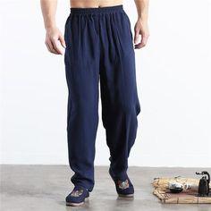 2018 Brand New Summer Linen Casual Pants Men Solid Thin Breathable Jog – eticdress Xl Fashion, Fashion Pants, Plus Size Clothing Stores, Black Khakis, Linen Trousers, Plus Size Girls, Jogger Sweatpants, Wide Leg Pants, Casual Pants