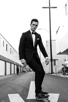 Skate everything.    Our peaked lapel tuxedo is a modern update of the classic black tux. This suit will give you a sharp, precision-cut look with clean lines and impeccable construction.