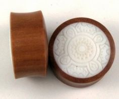 00g (10 mm) Sono Wood Plug w/White Inlay Hand Made Organic Pair (pros022_10/band022_10)