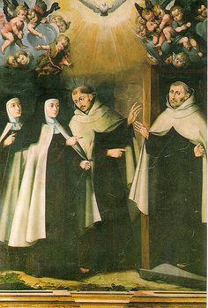Santa Teresa de Jesús visita en Duruelo a San Juan de la Cruz y a Fr. Antonio de Jesús, primeros religiosos de su Reforma en Carmelitas Descalzas, Alba de Tormes